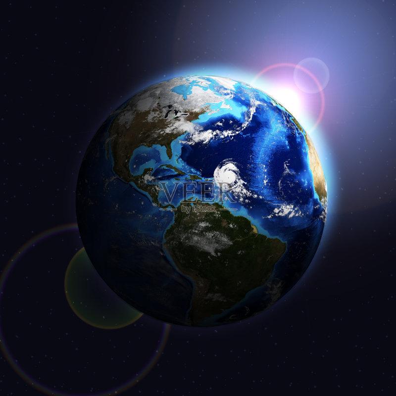 黑色 深蓝 地球 阳光光束 云景 概念 天文学