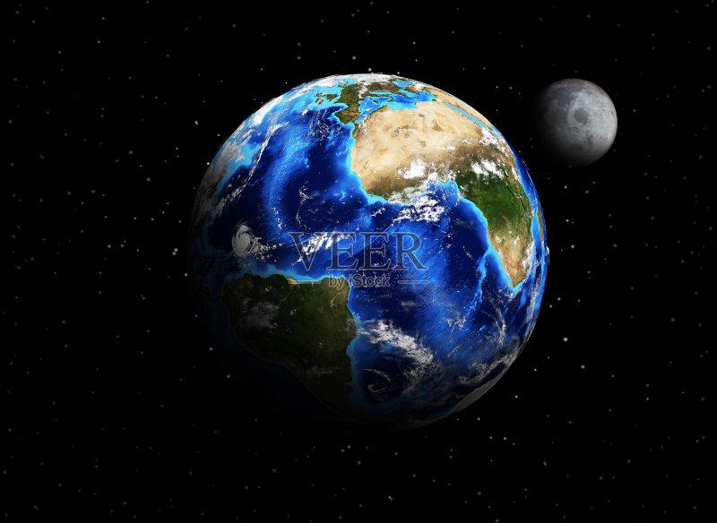 黑色 深蓝 地球 背景 概念 天文学