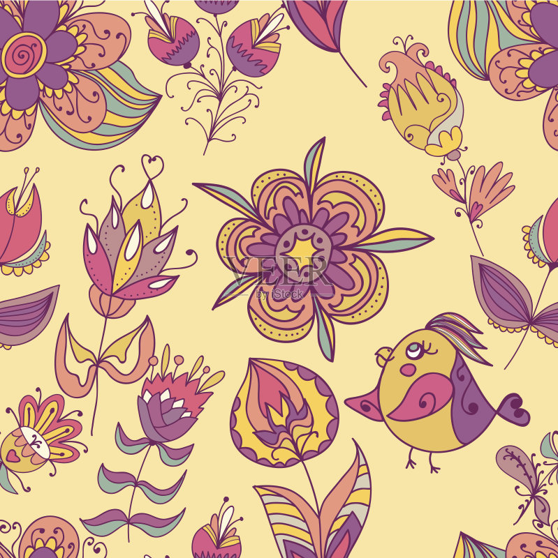 无缝的样式 美术工艺 纺织品 春天 夏天 动物 设计元素 古典式 粉色