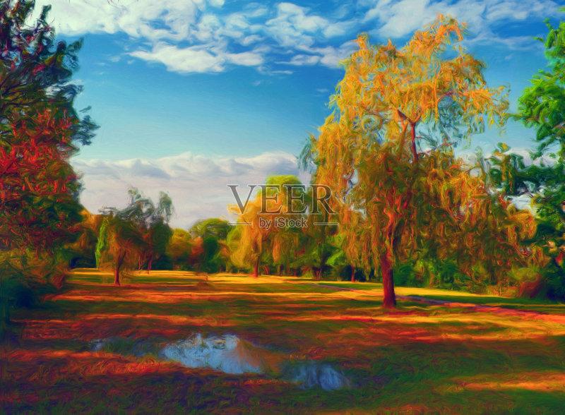 风景画-草地 明亮 阴影 植物 红色 天空 自然 黄色 纹理 艺术文化和娱乐