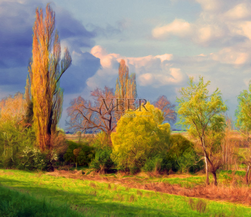 风景画-秋天 草地 多云 明亮 阴影 植物 高大的 天空 自然 黄色 纹理 艺术