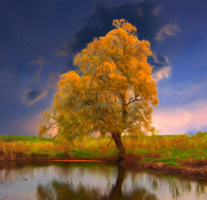 风景画-秋天 草地 多云 植物 寂寞 天空 自然 黄色 纹理 艺术文化和娱乐