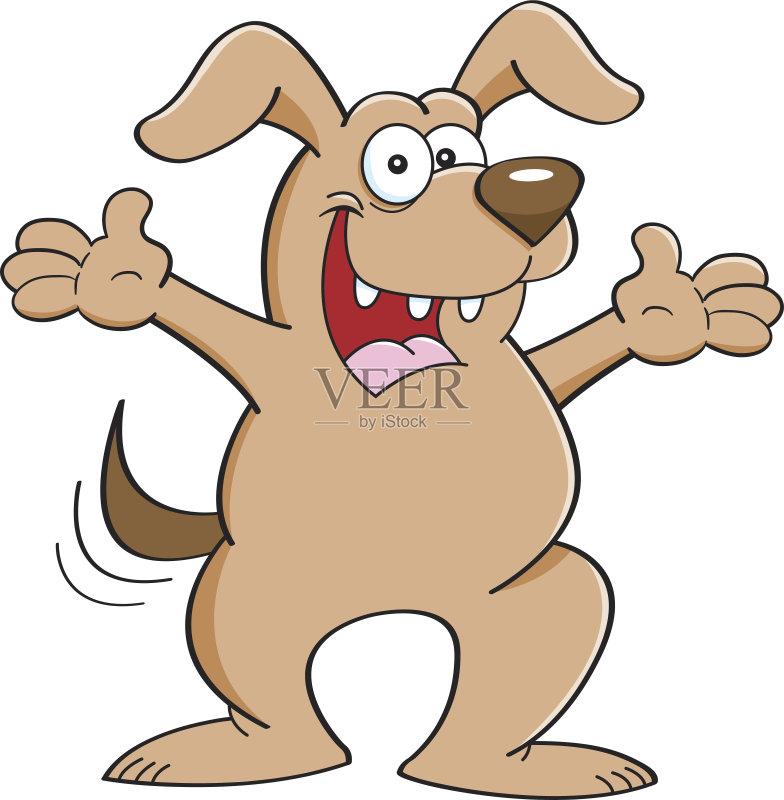 卡通狗-幽默 犬科的 宠物 绘画插图 摇动 卡通 狗 问候 尾巴 动物 快乐