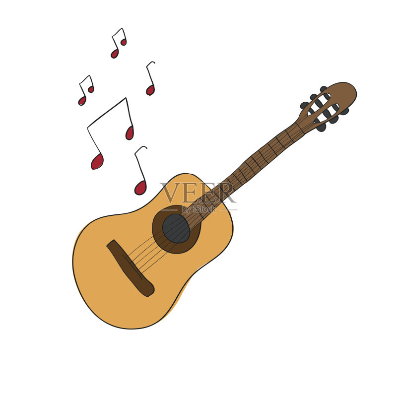乐器-粗糙的 吉他 木制 一个物体 绘画插图 业余爱好 声学吉他 画画 爵