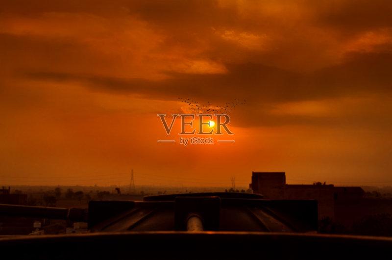 晨 户外 球队回家 橙色 日落 日出 城市 鸟编队飞行 夏天 2015年 日光