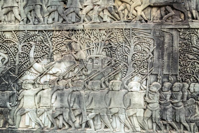 塑 考古学 浅浮雕 印度教 吴哥 收获 户外 战争 著名景点 手艺 美术工艺图片