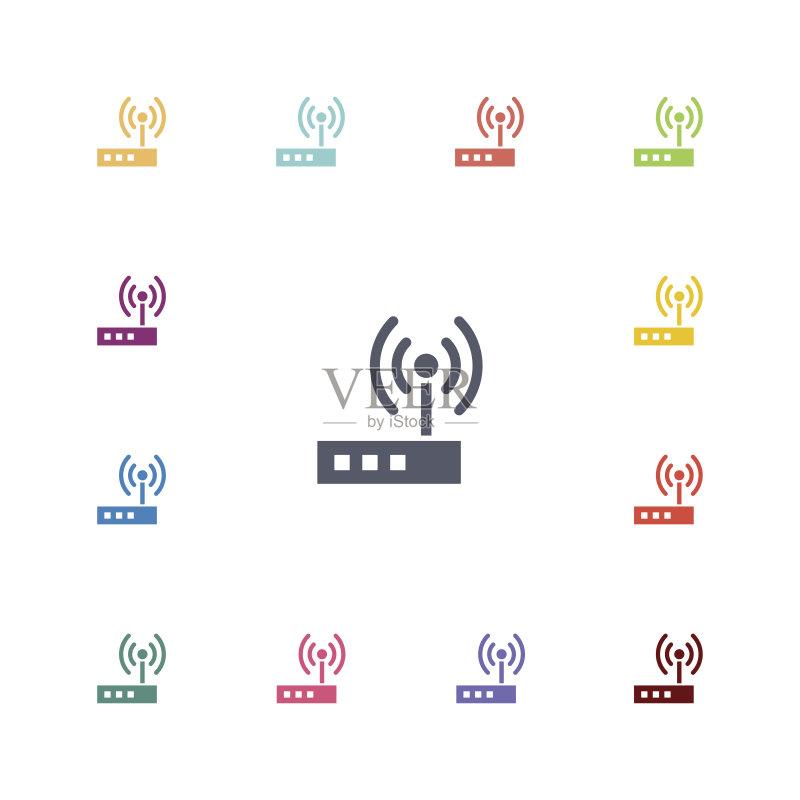商务 数字用户线路 路由器 沟通 计算机图标 网络安全防护 矢量 调制