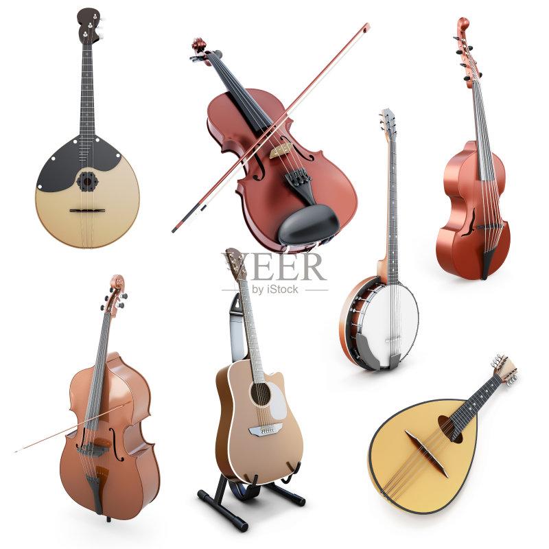 民间音乐 低音乐器 小提琴 计算机制图 背景 班卓琴