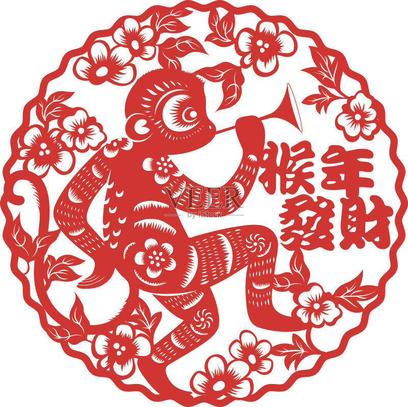 剪纸-设计 文化 许愿 运气 轮廓 正字符号 红色 符号 式样 十二生肖 祝福 图片