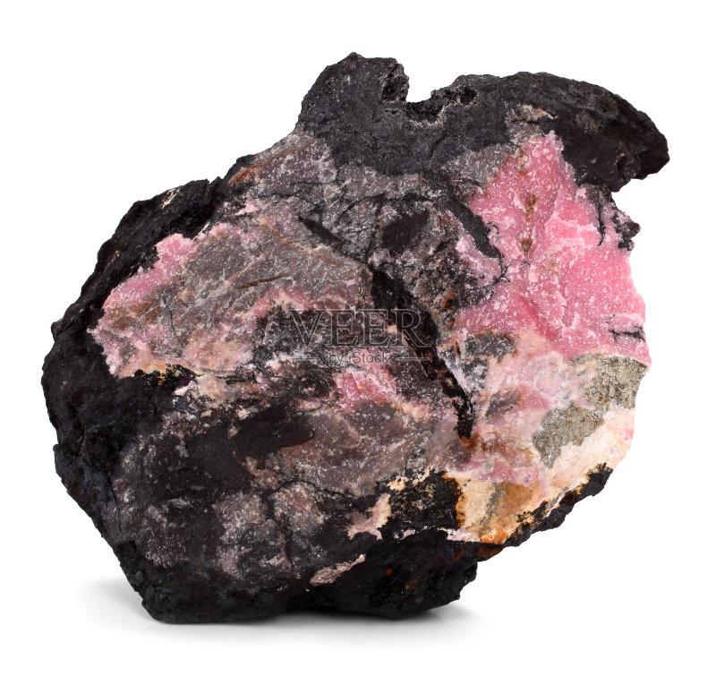 矿石-石材 矿物质 无人 粉色 宝石 装饰 一个物体 黑色 岩石 橙色 白色背