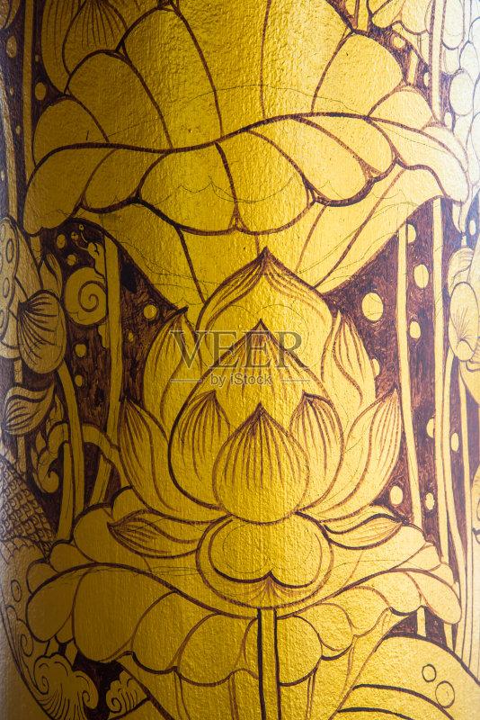 式样 符号 美术工艺 装饰物 东 蓝色 黄色 无人 泰国 亚洲 僧院 装饰