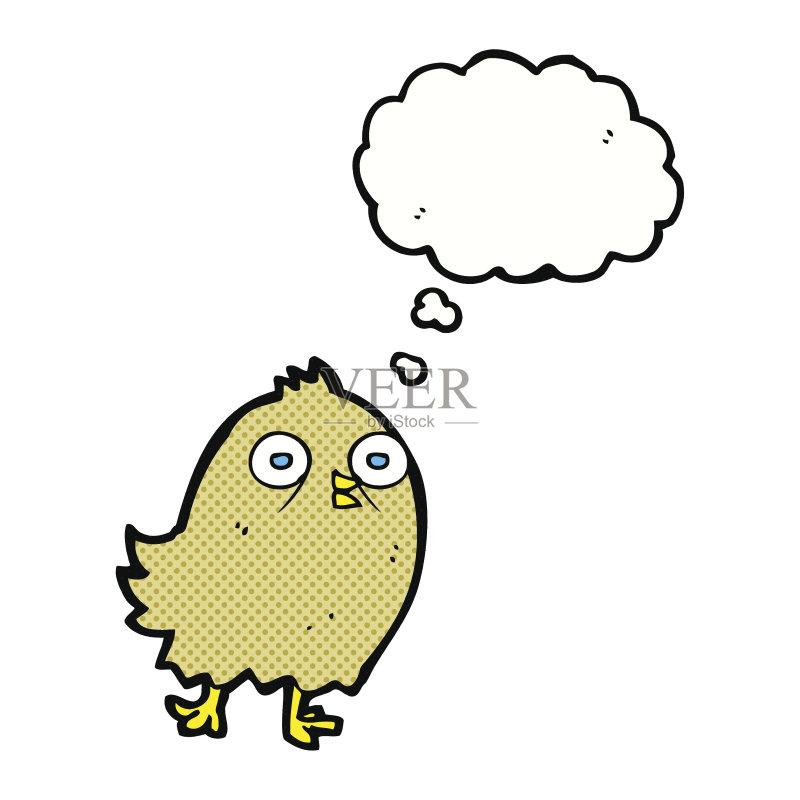 有趣-幽默 快乐 可爱的 绘画插图 乱画 奇异的 剪贴画 思想气泡框 鸟类 图片