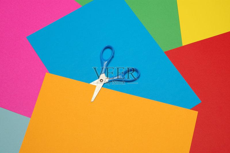彩鲜艳 照亮 手工艺设备 爆炸 绿色 橙色 影棚拍摄 剪刀 设备用品 居家图片
