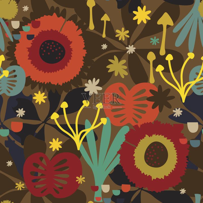 无缝的样式 美术工艺 自然 真菌 非凡的 艺术 无人 花纹 苹果花 花 印