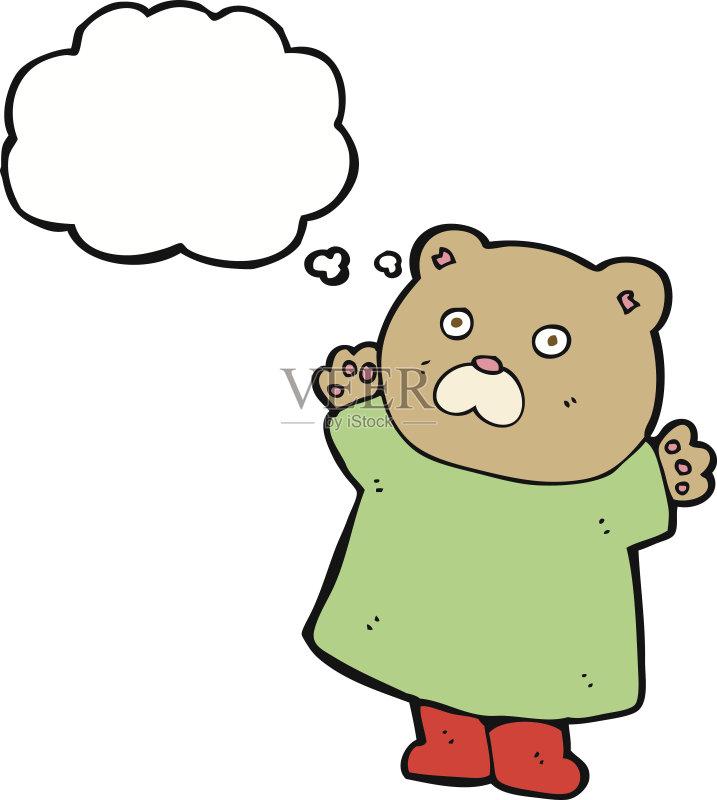 有趣-粗糙的 可爱的 绘画插图 泰迪熊 思想气泡框 画画 快乐 2015年 衣图片