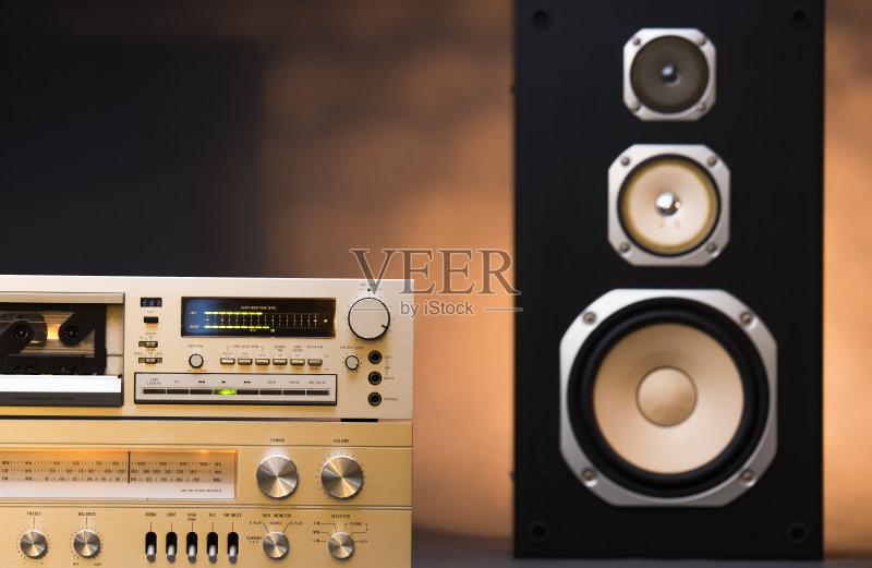 高音谱号 金属 南美文化 环绕立体声 调谐器 金色 磁带录音机 控制 盒