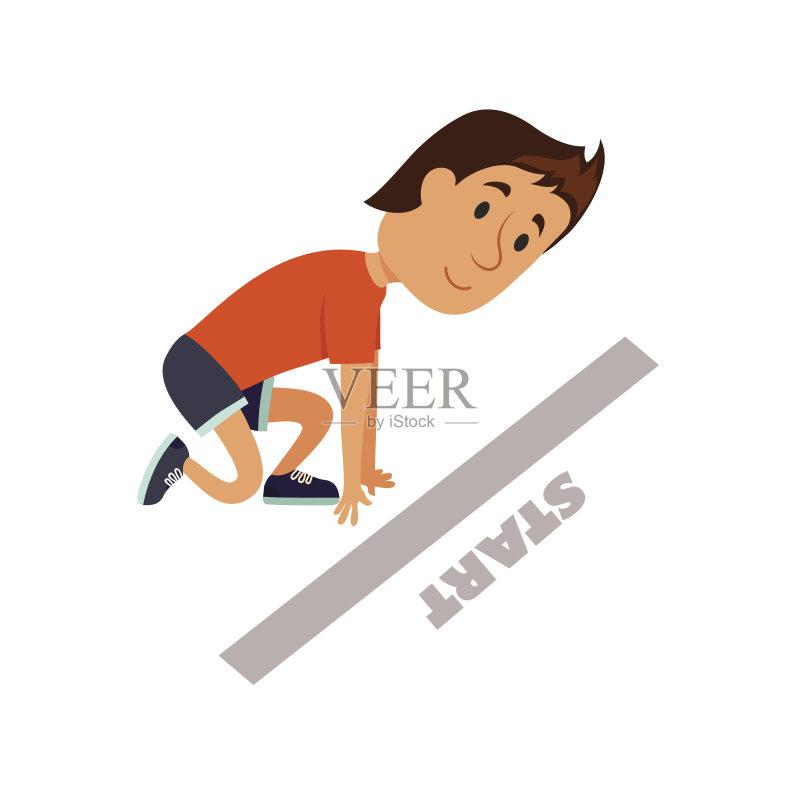 白色 慢跑 卡通 想法 符号 男性 运动员 运动 迅速 准备 生活方式 赛跑