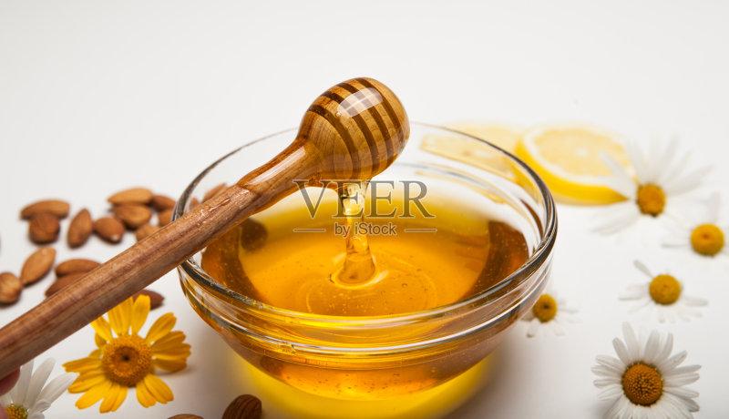 琥珀 杯 蜂蜜 水果 饮食 杏仁 健康食物 可爱的 有机食品 广口瓶 草药 图片