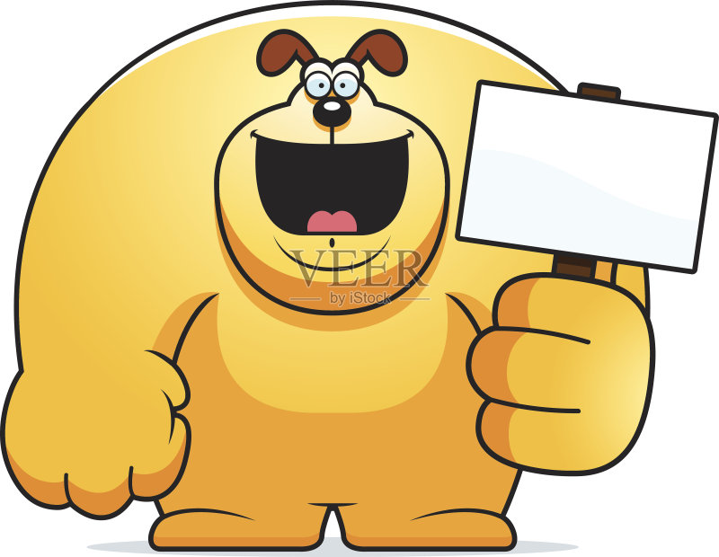 卡通狗-巨大的 绘画插图 卡通 空白的 狗 标志 动物 拿着 矢量 计算机制