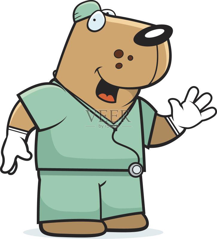 卡通狗-外科手套 绘画插图 卡通 听诊器 兽医 外科医生 狗 动物 护士 快