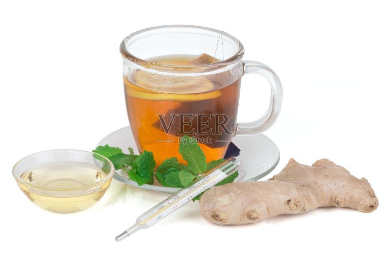 物 杯 部分 蜂蜜 水果 健康食物 饮料 成分 薄荷叶 草药 健康生活方式 图片