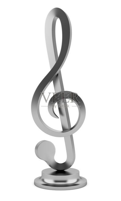 色 一个物体 高音谱号 符号 银色 金属 白色背景 银 金属质感