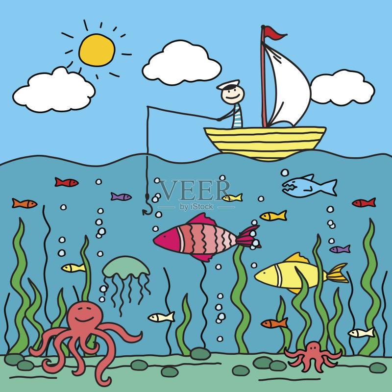 儿童画-人 水母 卡通 钓具 运输 船 黄色 客船 野生动物 旅行 云 渔夫 户图片