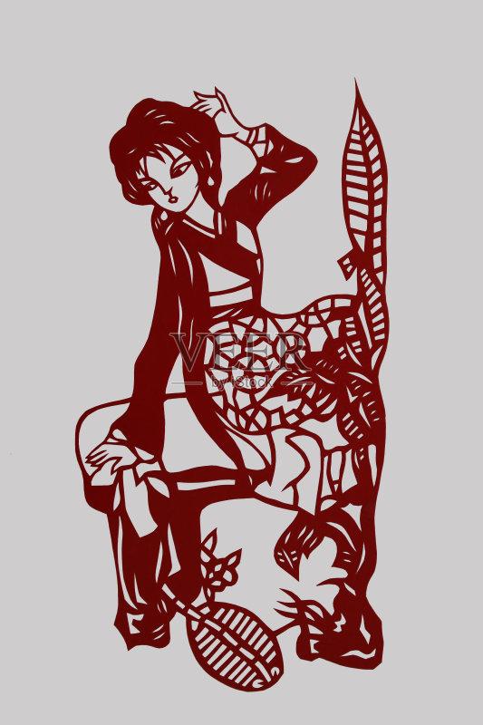 剪纸-文化 欢乐 剪羊毛 许愿 女人 材料 红色 符号 亚洲 文章 中国 装饰 图片