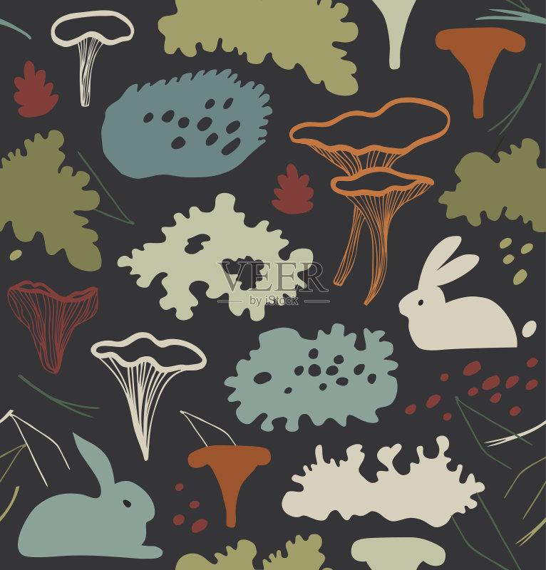 美术-秋天 苔藓 设计 地衣 瓷砖 高雅 材料 鸡油菌 式样 野兔 形状 自然