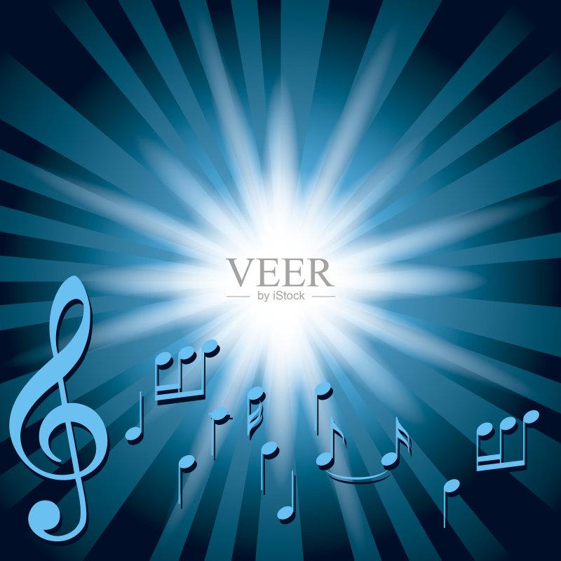 间部分 音乐 高音谱号 光束 艺术文化和娱乐 背景 音符 色彩渐变 爆炸