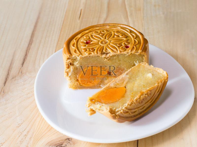 充满的 越南 月饼 烘焙 蛋黄 甜点心
