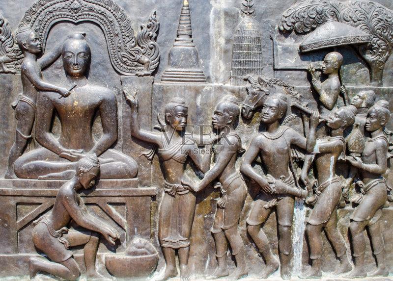雕塑 佛塔 浅浮雕 个性 雕刻物 佛 手艺 美术工艺 历史 古老的 艺术 无图片