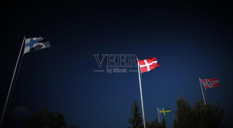 非都市风光 21世纪 挪威 暗色 绳子 芬兰 纺织品 蓝色 国旗 万里无云