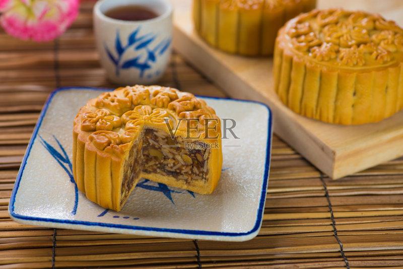 食品 餐馆 月饼 杯 多色的 庆祝 蛋黄 甜点心 茶壶
