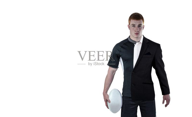 形象-球 高雅 肖像 运动服 茄克 男性 白人 运动员 合成图像 运动 着装得