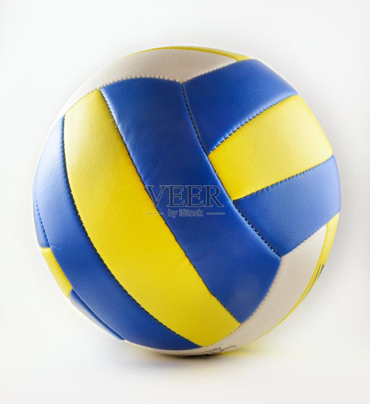 色 一个物体 排球 白色背景 体育器械 蓝色 接缝 黄色 成品 运动 无人