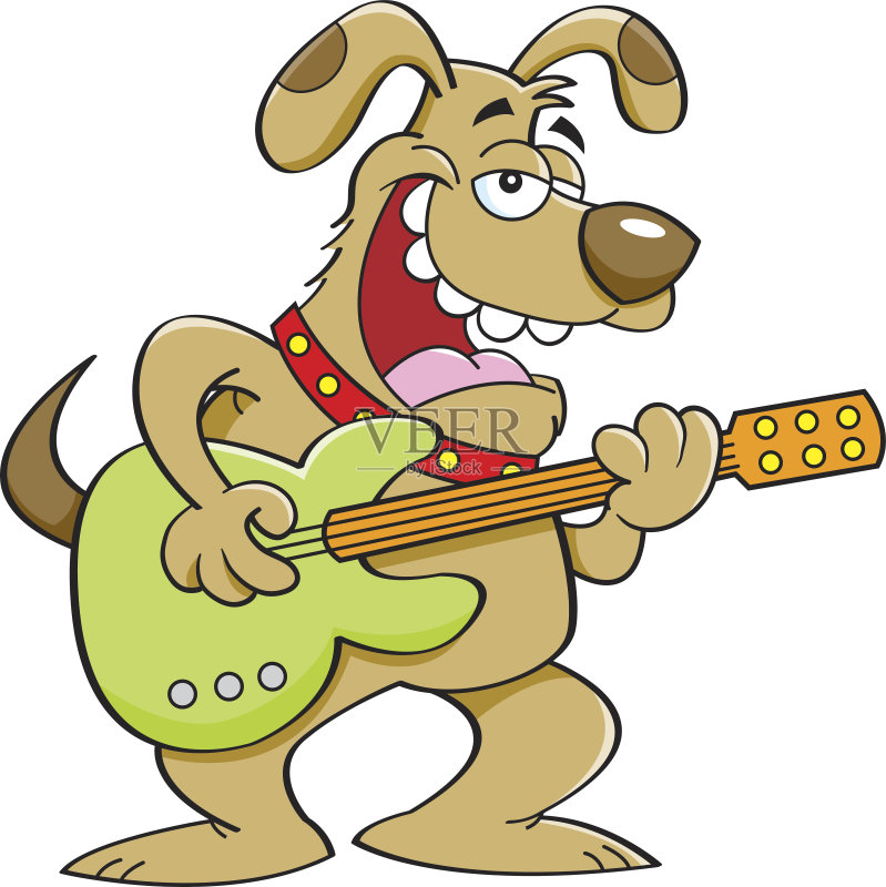 卡通狗-进行中 幽默 犬科的 吉他 唱 嬉戏的 弦乐器 绘画插图 卡通 狗 职