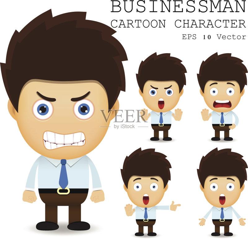 画插图 沮丧 情绪压力 体力工人 表情符号 商务 成功 人体 男商人