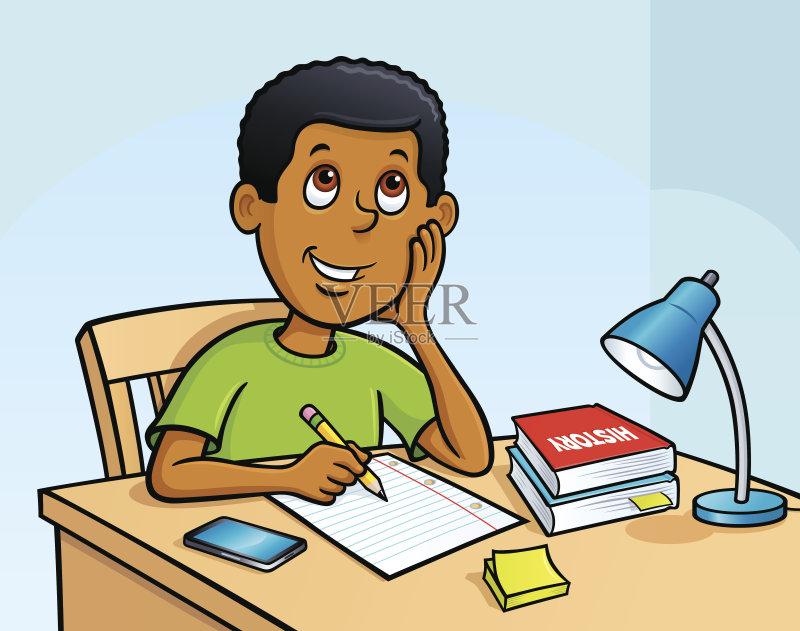 定 儿童 家庭作业 学习 通信 青少年 男孩 台灯 螺旋记事本 童年 绘画插