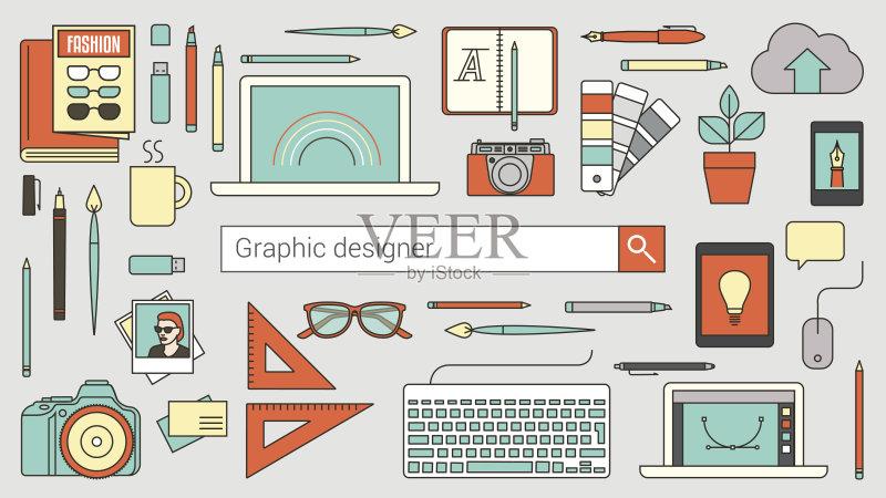 平面-计算机 插图画家 无线电技术 设计 市场营销 想法 概念和主题 与摄图片
