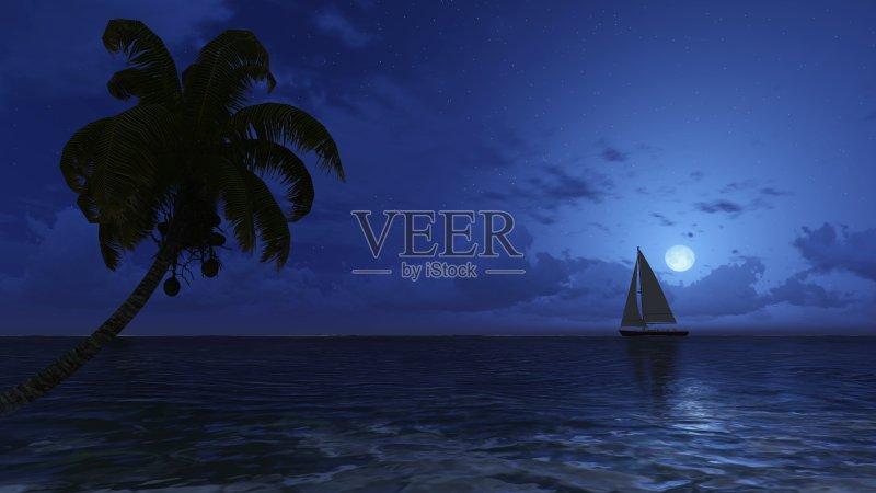 多云 梦想 海景 度假胜地 曙暮光 天空 棕榈树 船 有帆船 黄昏 帆 客船 图片
