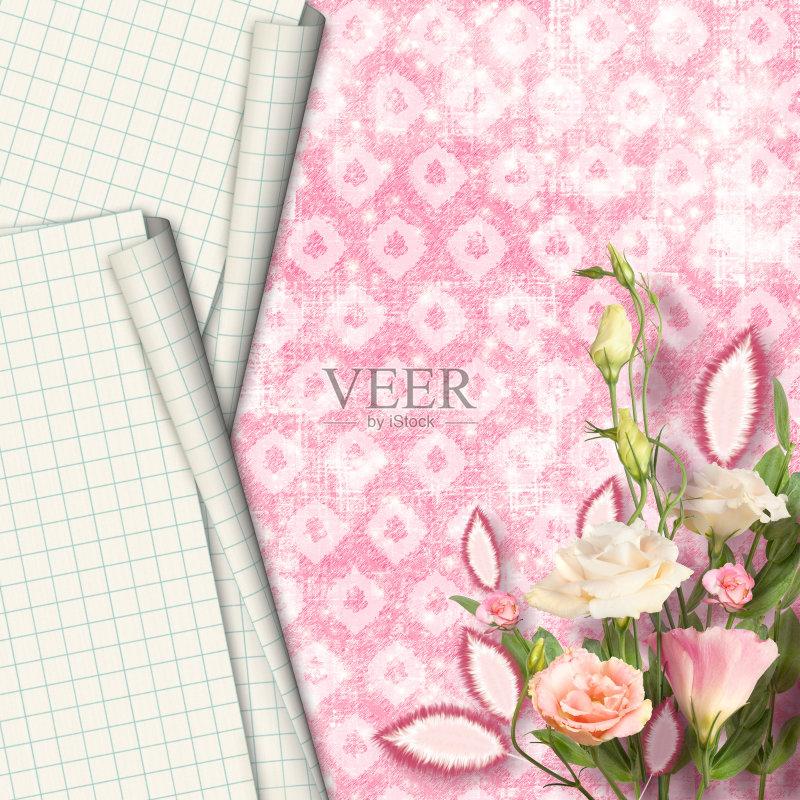 花束 笔记本 玫瑰 背景 纸 贺卡图片
