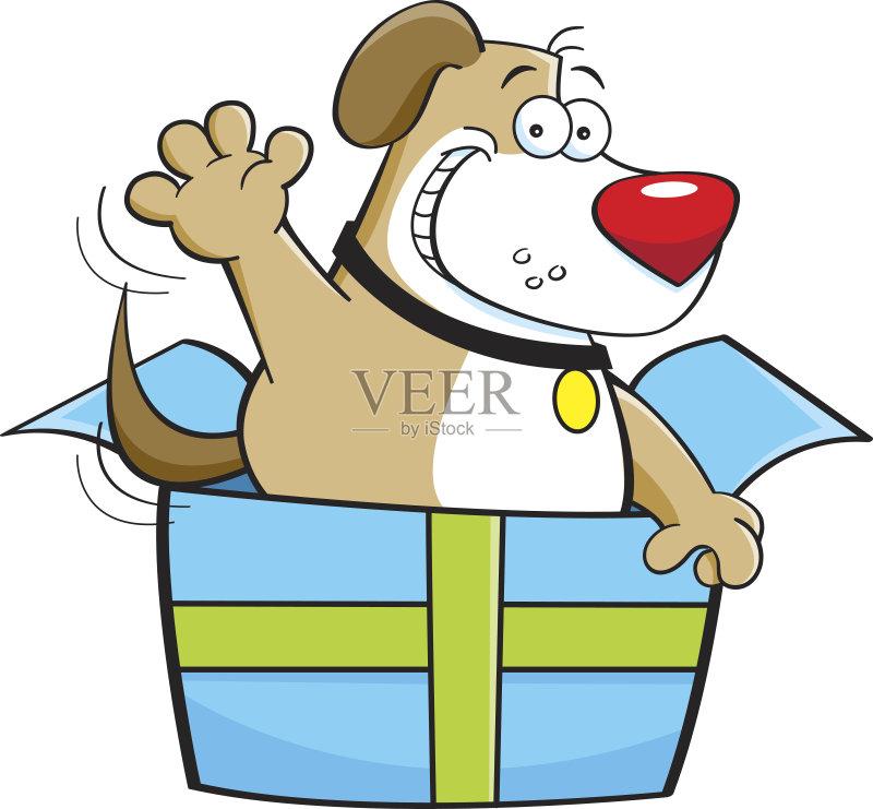 卡通狗-幽默 犬科的 节日 宠物 惊奇 绘画插图 卡通 包装纸 狗 乐趣 动物
