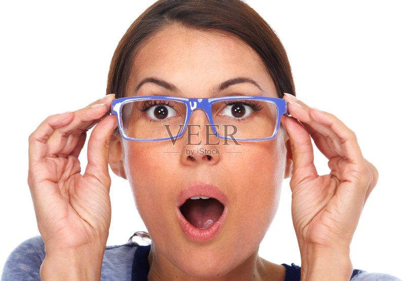 部用品 女人 近视 惊奇 看 眼镜 情感 2015年 视力 验光师 人体 面部表