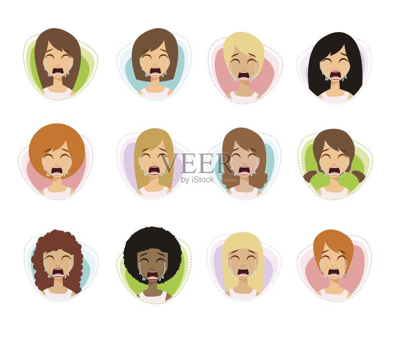 情绪-女人 哭 绘画插图 损失 痛苦 发狂的 悲哀 仅女人 情感 问题 人体