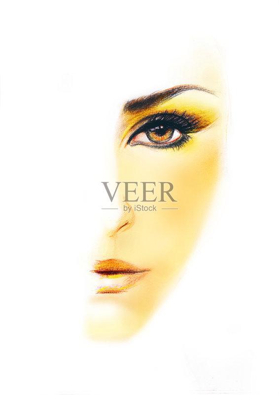 铅笔画 人 阿拉伯风格 着色 女人 奶油色的口红 埃及 黄色 亚洲 中东 眼