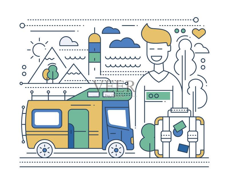 平面-人 网站模板 想法 信息图表 陆用车 男性 冒险 生活方式 旅行 地形 图片