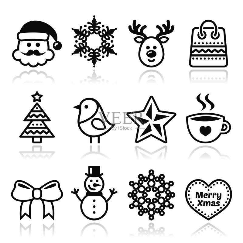 圣诞树 符号 式样 蝴蝶结 圣诞老人 咖啡 白色背景 帽子 圣诞帽 茶 马克