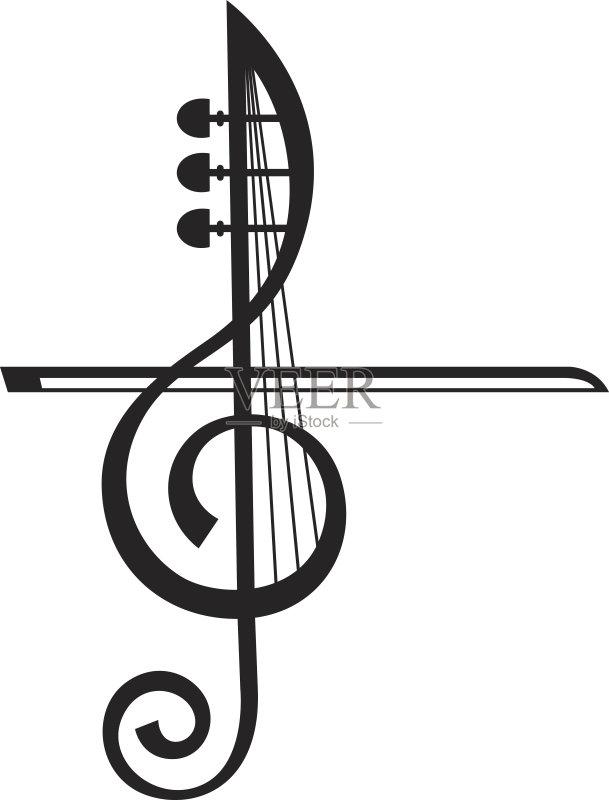 算机制图 唱 高音谱号 绘画插图 乐器弦 噪声 音符 标志 古典音乐会