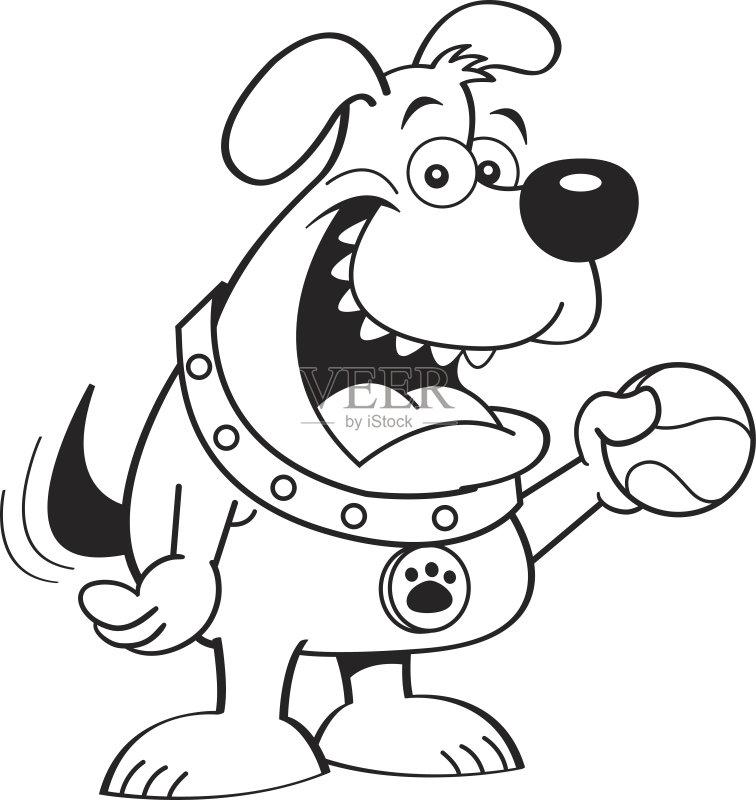 卡通狗-进行中 幽默 犬科的 着色 嬉戏的 宠物 球 绘画插图 摇动 轮廓 卡